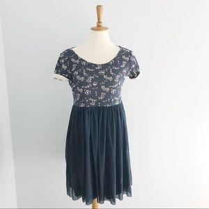 Anthropologie Blue Botanical Top Dress Size Medium